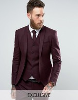 Noak Super Skinny Suit Jacket With Lux Tonal Print