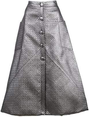 Christian Siriano metallic sheen midi skirt