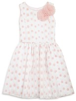 Pippa & Julie Girls' Rosette Polka Dot Organza Dress - Sizes 2T-6X