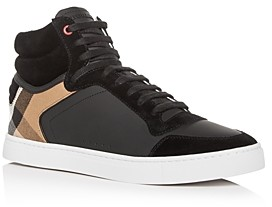 Burberry Men's Reeth Leather High-Top Sneakers