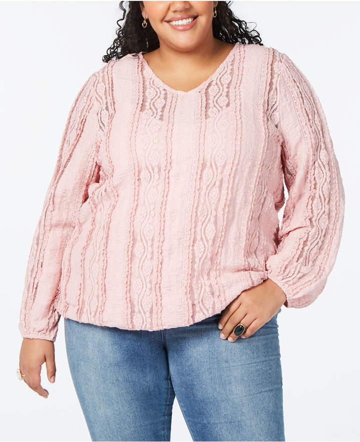 Style&Co. Style & Co Plus Size Lace V-Neck Top