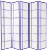 Oriental Furniture 6-Feet Double Cross Japanese Shoji Folding Privacy Screen Room Divider, Lavender