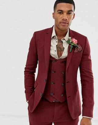 Asos Design DESIGN wedding super skinny suit jacket in micro texture burgundy-Red