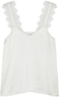 CAMI NYC Chelsea Lace-trimmed Silk Top