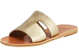 Ancient Greek Sandals Apteros Cutout Metallic Leather Flat Slide Sandals