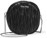 Miu Miu Moon Matelassé Leather Shoulder Bag - Black