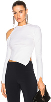 Cushnie et Ochs Long Sleeved Single Cold Shoulder Crop Top in White.