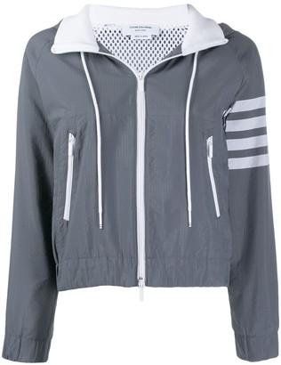 Thom Browne 4-Bar Zip-Up Hooded Jacket