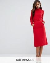 Redream Tall Re:Dream Tall High Waist Midi Pencil Skirt With Pockets