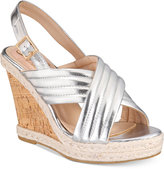 Callisto Puff Crisscross Platform Wedge Sandals