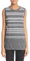 DKNY Sleeveless Stripe Linen & Cotton Tank