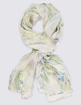 M&S Collection Pure Silk Botanical Floral Print Scarf