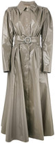 Alessandra Rich - long vinyl trench coat - women - Cotton/Polyurethane/Cupro - 40