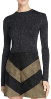 Astr Ribbed Metallic Crop Sweater