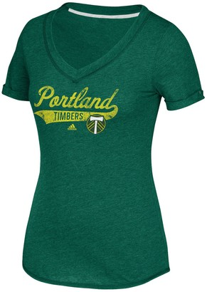 adidas Women's Green Portland Timbers Tail Stack V-Neck T-Shirt