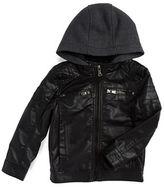 Urban Republic Boys 2-7 Hooded Faux Leather Jacket