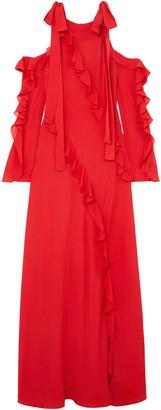 Elie Saab Cold-shoulder Ruffled Silk-georgette Gown