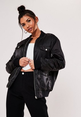 Missguided Black Utility Pocket Bomber Jacket