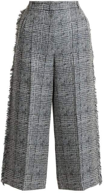 Erdem Beth Checked Frayed Edged Cropped Trousers - Womens - Grey