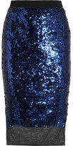 By Malene Birger Mandias Sequined Stretch-mesh Skirt - Royal blue