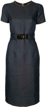 Giorgio Armani Belted Short Sleeve Dress
