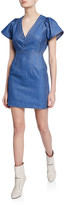 Derek Lam 10 Crosby V-Neck Cap-Sleeve Fitted Mini Denim Dress