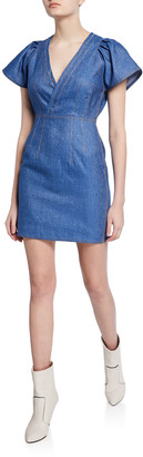 Derek Lam 10 Crosby V-Neck Cap-Sleeve Fitted Mini Denim Dress