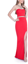 Terani Couture Red Embellished Cutout-Back Gown