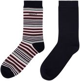 Gant Two Pack Of Striped And Block Coloured Socks