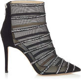 Jimmy Choo BELLE 100 Black Suede and Mesh Booties with Crystal Hotfix