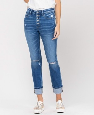 VERVET Women's High Rise Distressed Button Up Cuffed Straight Jeans