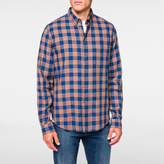 Paul Smith Men's Orange And Blue Cotton Check Shirt