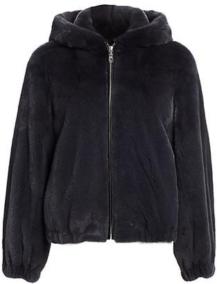 The Fur Salon Hooded Mink Fur Bomber Jacket