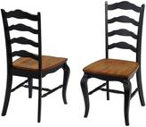 Home Styles French Countryside Oak and Rubbed Black Wood Dining Chair Pair