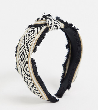 Aldo Nangetty twist headband with fringing in geometric print