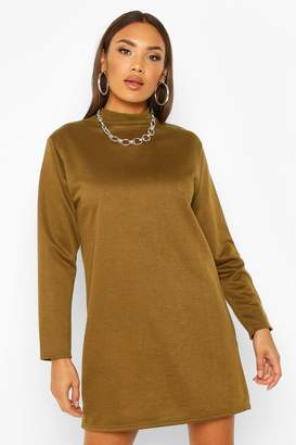 boohoo Funnel Neck Long Sleeve Sweatshirt Dress