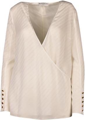 Givenchy Silk Top Whit Foulard Collr