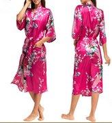 Sirwolf Women's Kimono Wedding Robe long Peacock Design Bridesmaid Robe Printing Lotus Sleeve Silk