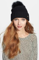 Burberry Women's Genuine Blue Fox Fur Pompom Beanie - Black