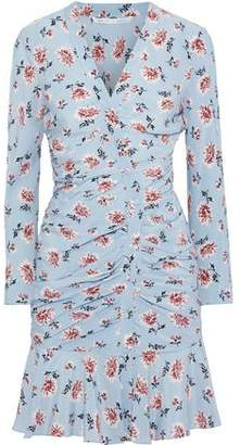 Veronica Beard Rowe Ruched Floral-print Silk Crepe De Chine Mini Dress