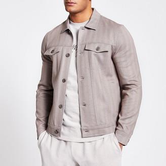River Island Beige button front skinny fit western jacket