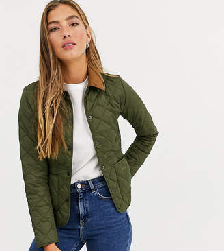Barbour Deveron box quilt jacket with cord collar-Green