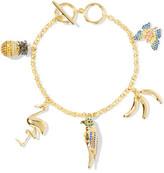 Noir Gold-Tone Crystal Charm Bracelet
