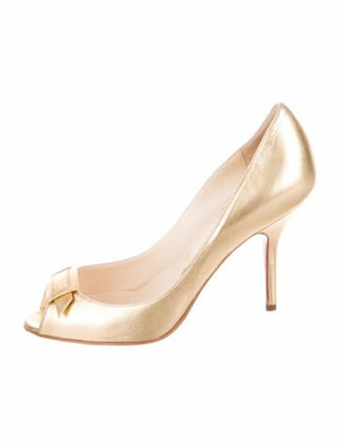 Christian Louboutin Metallic Peep-Toe Pumps Leather Pumps Metallic