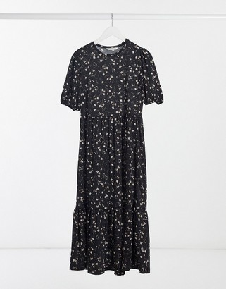 Stradivarius midi smock dress with frill detail in black floral