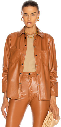 JONATHAN SIMKHAI STANDARD Pleated Sleeve Shirt in Toffee | FWRD