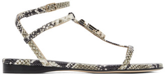 Jimmy Choo Grey Snake Alodie Flat Sandals
