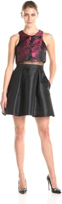 Betsy & Adam Women's Sleeveless Faux 2 Piece Fit and Flare Dress