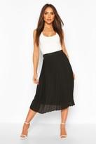 boohoo Woven Pleated Midi Skirt