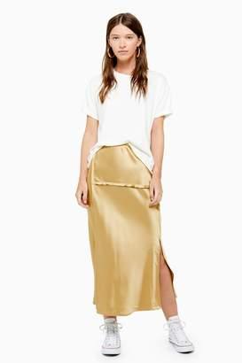 Topshop Womens Raw Seam Bias Midi Skirt - Gold